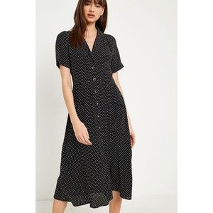 Midi Polka Dot Button Up Dress with Pockets